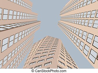 Abstract fragment of modern architecture vector illustration
