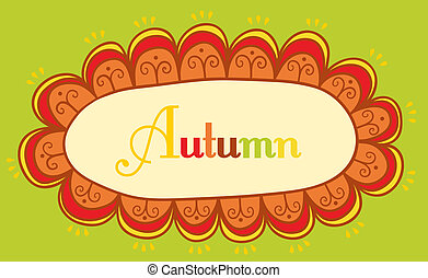 Abstract frame for your text. Autumnal theme header. Vector banner. Page decoration, useful element to embellish your layout, easy to use. Decorative vintage frame