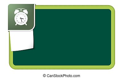 Abstract frame for your text with green corner and alarm clock