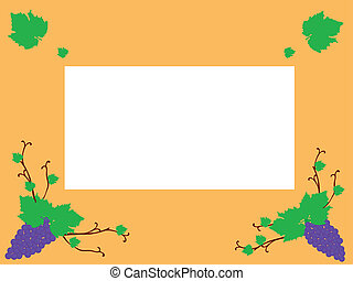 frame with blue grapes