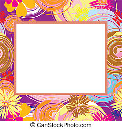 Abstract frame with flowers and ova