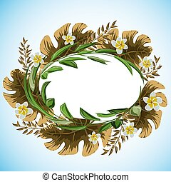 Abstract frame with leaves for print design. Vector floral background.