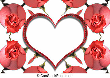 Abstract frame with red roses