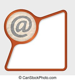 abstract frame with texture of crumpled paper and email icon
