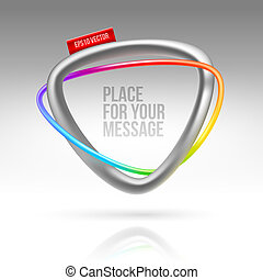 Abstract frame with tubular colorful element and red label...