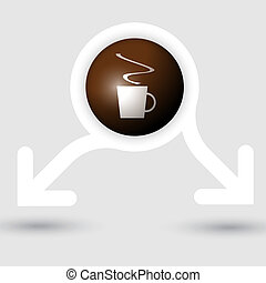 abstract frame with two arrows and cup of coffe