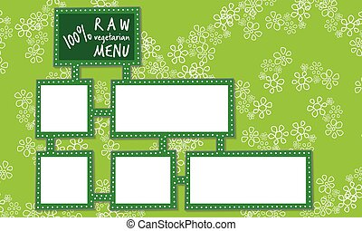 Abstract frames for your text and vegetarian menu