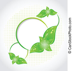 Abstract frames with eco green leaves - Illustration...