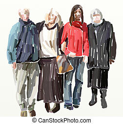 abstract friends - Group portrait illustration in loose...