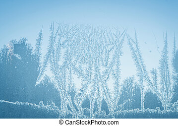 Abstract frost on a window in the winter