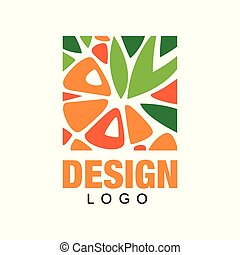 Abstract fruit logo template. Colorful flat vector design for organic shop, juice label, healthy food store or vegetarian cafe. Icon in rectangular shape.