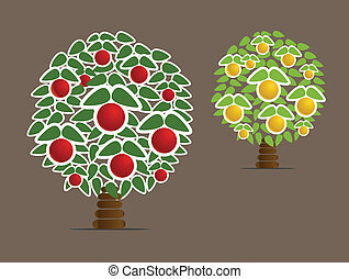 Abstract fruit trees