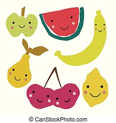 Abstract fruits in scandinavian style. Collage art.