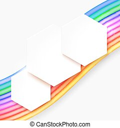 Abstract full-color background with colored stripes and shapes for text. Vector illustration