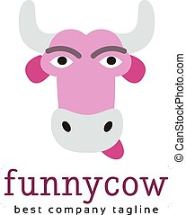 Abstract funny cow vector logo icon concept. Good as logotype template for branding and corporate design