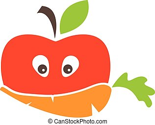 Abstract funny face illustration of apple and carrot