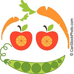 Abstract funny face illustration of apple, carrot and peas