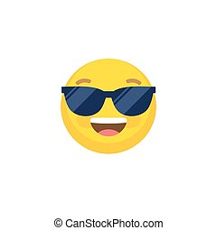Abstract funny flat style emoji emoticon face in sunglasses illustration icon