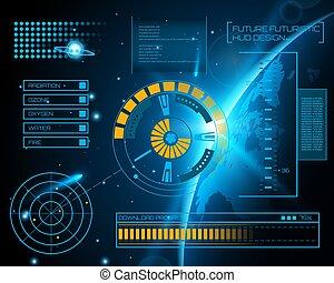 Abstract future, concept vector futuristic blue virtual...