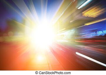 Abstract futuristic background - Bus speeding through city...