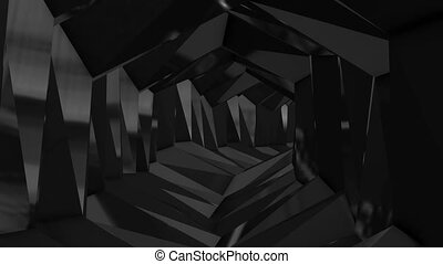 Abstract futuristic background with animation of the flight in the tunnel maze.