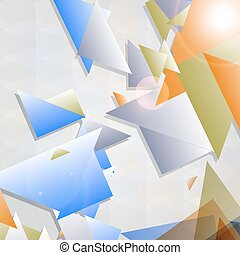 Abstract futuristic background with geometric shapes.