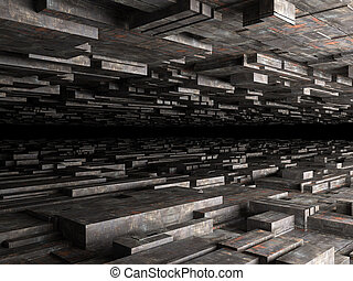 abstract futuristic background with dirty boxes, high quality 3d render