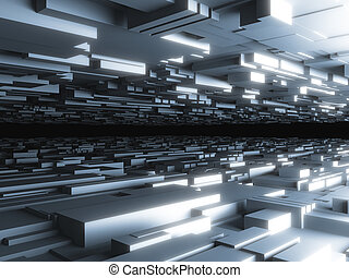 abstract futuristic background with glowing blocks, high...