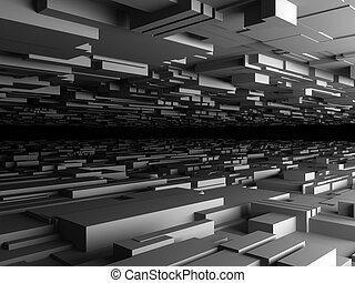 abstract futuristic background with lot of boxes, high quality 3d render