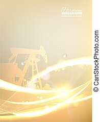 Abstract futuristic background with polygons and lines. Oilfield image with golden style.