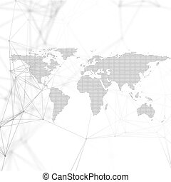Abstract futuristic background with connecting lines and dots, polygonal linear texture. World map on white. Global network connections, geometric design, dig data technology digital concept.