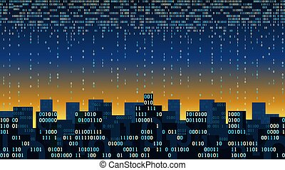Abstract futuristic city with the artificial intelligence and internet of things, big data, smart city connected to cloud storage, binary flow - data stream, network digital technology concept