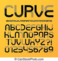 Abstract Futuristic Curve Alphabet and Numbers, Editable eps10 Vector