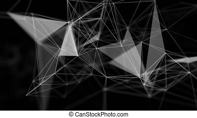 Abstract Futuristic Data Connections Beautiful geometry lines and dots Background, Technology Concept Green Screen Alpha Matte Loop Aniamtion Background