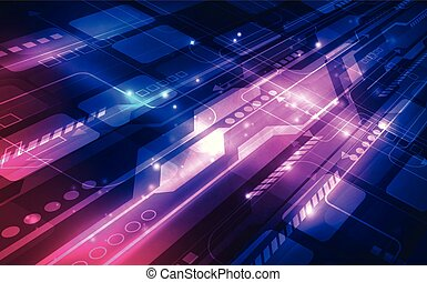 Abstract futuristic digital technology circuit motherboard background. Illustration Vector
