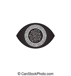 abstract futuristic digital technology eye with binary circles and motherboard lines, concept of cyber security or biometric. vector illustration isolated on white background.