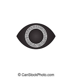 abstract futuristic digital technology eye with binary circles,, concept of cyber security or biometric. vector illustration isolated on white background.