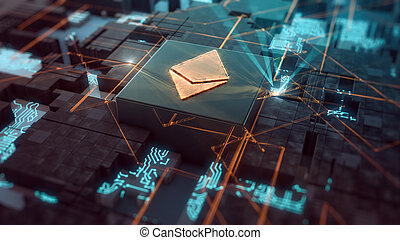 abstract futuristic electronic circuit with a cpu and a crypto currency symbol, concept of cryptocurrency mining (3d render)