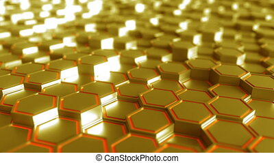 Abstract futuristic hexagonal golden figures - Abstract...
