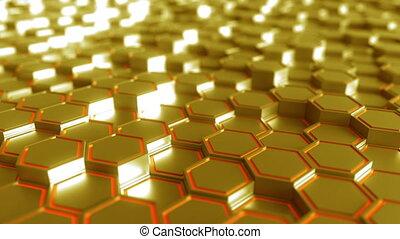 Abstract futuristic hexagonal golden figures - Abstract...
