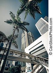 Abstract futuristic Hong Kong cityscape