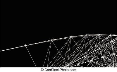Abstract futuristic lines and dots grid. Intertwining web, a network of ropes, an unusual geometric black and white x ray vector pattern.