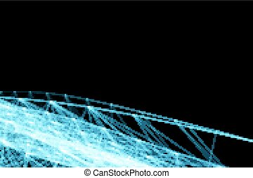 Abstract futuristic lines and dots grid. Intertwining web, a network of ropes, an unusual geometric black and blue vector pattern.