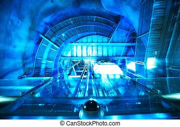 Abstract futuristic machine. Blue tint.