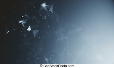 Abstract futuristic, polygonal space with a dark background with connecting points, lines and triangles. The concept of science, business, space.