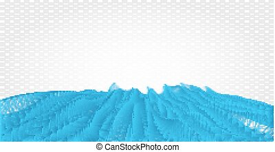 Abstract futuristic polygonal wavy lines and dots grid illustration. Intertwining web, a network of ropes, an unusual geometric blue gradient vector pattern on black background.