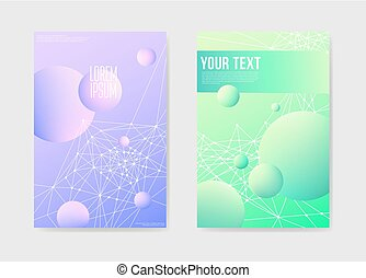 Abstract Futuristic Poster with 3d Shapes Background. Placard Brochure Template. Banner Identity Card Design. Vector illustration