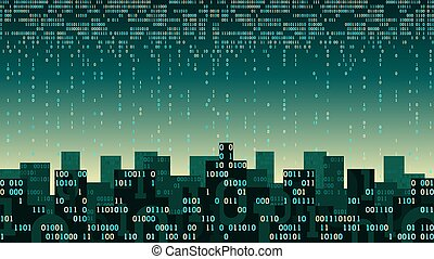 Abstract futuristic smart city with the artificial intelligence and internet of things, city connected to cloud storage, binary flow - data stream, big data, network digital technology concept