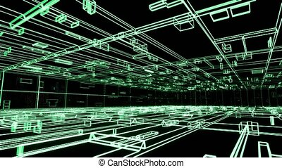 Abstract futuristic space with glowing neon green cells overlay video