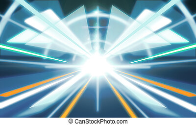 Abstract futuristic tunnel background. Technology and...